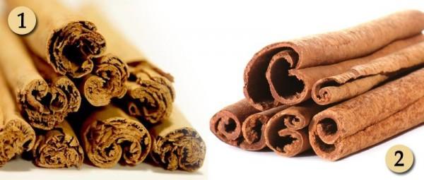 1 is the real Ceylon cinnamon, 2 is the regular, cassia cinnamon